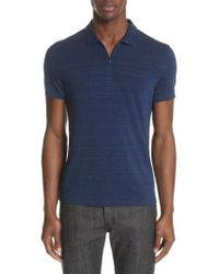John Varvatos - Stripe Zip Polo Shirt - Lyst