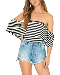 Amuse Society - Ruffle My Feathers Off The Shoulder Bodysuit - Lyst