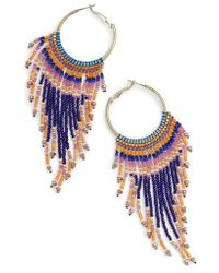 Nakamol - Beaded Fringe Hoop Earrings - Lyst