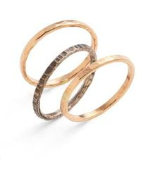 Nashelle | Ija Stackable Hammered Rings (set Of 3) | Lyst