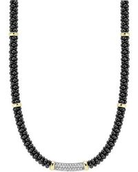 Lagos - 'black Caviar' 5mm Beaded Diamond Bar Necklace - Lyst