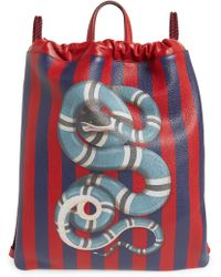 Gucci - Kingsnake Stripe Leather Drawstring Backpack - - Lyst 793e7fc060