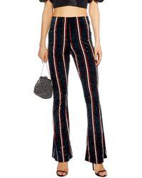TOPSHOP - Stripe Velvet Flare Pants - Lyst