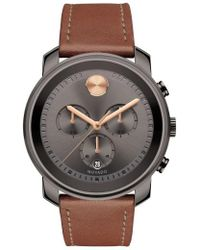 Movado | 'bold' Chronograph Leather Strap Watch | Lyst