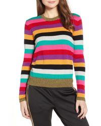 Pam & Gela - Stripe Metallic Trim Sweater - Lyst
