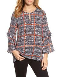 Chaus - Printed Ruffle Sleeve Blouse - Lyst