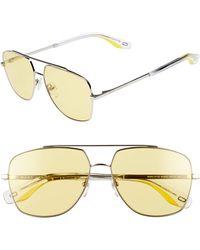 Marc Jacobs - 58mm Navigator Sunglasses - Pale/ Yellow - Lyst