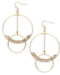 Panacea - Crystal Beaded Lyrd Circle Earrings - Lyst