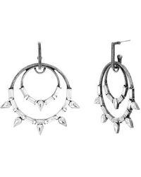 Steve Madden - Baguette Stone Casted Double Hoop Earrings - Lyst