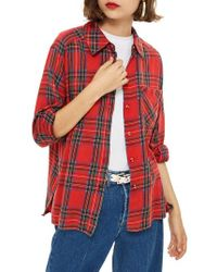TOPSHOP - Plaid Shirt - Lyst