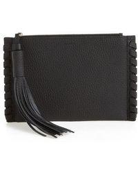 AllSaints - Small Kepi Leather Zip Pouch - Lyst