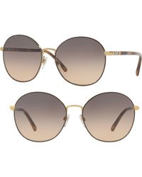 eabefa531c Burberry - 56mm Gradient Round Sunglasses - Pale Gold - Lyst