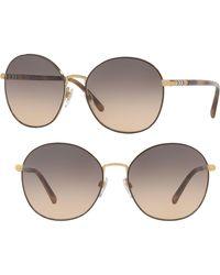 0890c287db Burberry - 56mm Gradient Round Sunglasses - Pale Gold - Lyst