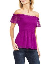 Vince Camuto - Smocked Eyelet Top - Lyst