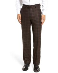 Berle - Flat Front Plaid Wool Trousers - Lyst