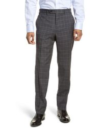 JB Britches - Flat Front Plaid Wool Trousers - Lyst