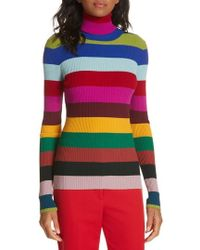 MILLY - Ribbed Turtleneck Sweater - Lyst