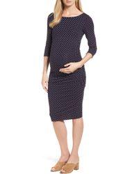Isabella Oliver - Jennifer Dot Ruched Maternity Dress - Lyst