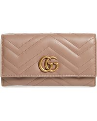2fd8c5cb5f9946 Gucci Gg Marmont Small Quilted Leather Wallet in Green - Lyst