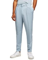 TOPMAN - Slim Fit Cropped Pleated Trousers - Lyst