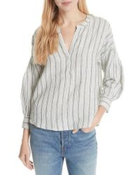 Joie - Bekette Collarless Stripe Linen Blouse - Lyst