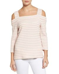 Kut From The Kloth - Fridi Texture Stripe Cold Shoulder Top - Lyst