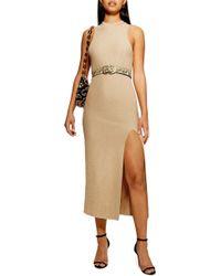 TOPSHOP - Metallic Sweater Dress - Lyst