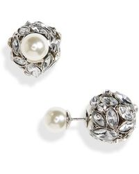 Cara - Front Back Crystal & Imitation Pearl Earrings - Lyst