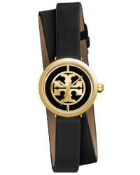 Tory Burch - Reva Logo Dial Double Wrap Leather Strap Watch - Lyst