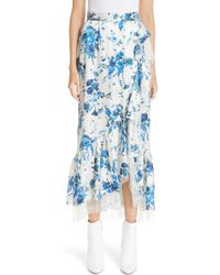Adam Lippes - Floral Hammered Silk Wrap Midi Skirt With Ruffle Trim - Lyst
