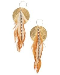 Serefina - Feather Disk Drop Earrings - Lyst