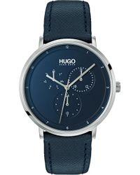 HUGO - Ultra Slim Leather Strap Watch - Lyst