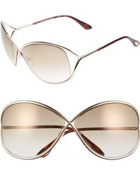 Tom Ford - Miranda 68mm Open Temple OverShiny Rose Gold/ Brown - Lyst