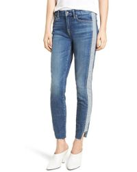 7 For All Mankind - 7 For All Mankind Side Panel Inset Ankle Skinny Jeans - Lyst