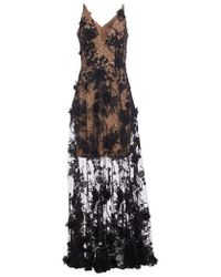 Dress the Population - Sidney Deep V-neck 3d Lace Gown - Lyst