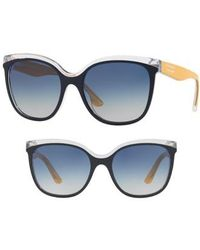 Burberry - Marblecheck 55mm Polarized Square Sunglasses - Lyst