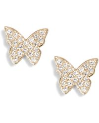 EF Collection - Butterfly Diamond Stud Earrings - Lyst