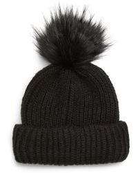 428a68ee790b2 Lyst - TOPSHOP Faux Fur Double Pompom Beanie in Black