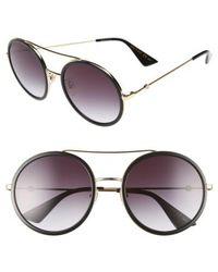 Gucci - 56mm Round Sunglasses - - Lyst