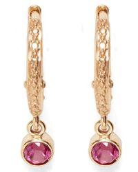 Marlo Laz - Pink Tourmaline Micro Hoop Earrings - Lyst