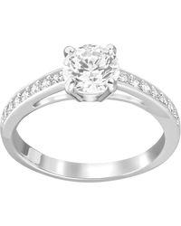 Swarovski - Crystal Round Cut Solitaire Ring - Lyst