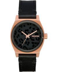 Nixon - Medium Time Teller Leather Strap Watch - Lyst