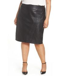 Sejour - Leather Pencil Skirt - Lyst