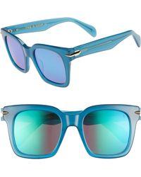 Rag & Bone - 51mm Polarized Mirrored Square Sunglasses - Lyst