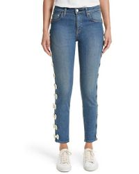 Tu Es Mon Tresor - Grosgrain Bow Embellished Jeans - Lyst