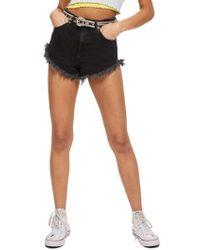 TOPSHOP | Kiri Moto Fray Hem Shorts | Lyst