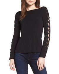 Bailey 44 - Date Night Lace-up Sleeve Knit Top - Lyst