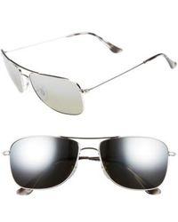 d35a76a6c0 Ray-Ban - 59mm Chromance Aviator Sunglasses - Shiny Silver grey Mirror -  Lyst