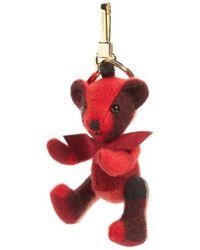Burberry - Thomas Bear Check Cashmere Bag Charm - Lyst