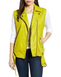 Kenneth Cole - Washed Green Leather Moto Vest - Lyst